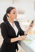 Woman checking business messages. — Foto de Stock