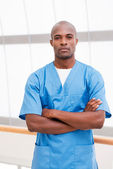 Confident young African doctor — Stock Photo