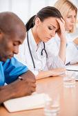Depressed female doctor. — Stock Photo