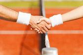 Schudden handen na goed spel — Stockfoto