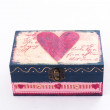 Wood box with pink heart painted — Stock Photo