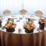 Bride and groom wedding table — Stock Photo
