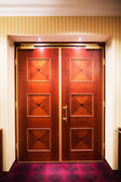Closed wood doors — Stock Photo