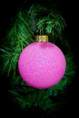 Christmas tree Christmas toy purple ball — Stock Photo