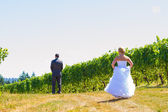 Bride and Groom First Look — Stock Photo