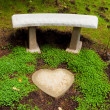 Heart Stone Bench — Stock Photo