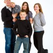 Family of Five Isolated — Stockfoto #37085377