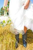 結婚式のカウボーイ ブーツ — ストック写真