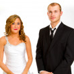 Bride and Groom in Studio — Stock Photo