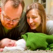 Newborn Baby Boy and Parents at Home — Stock Photo