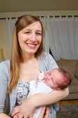 Mother Holding Newborn Baby Boy — Stock Photo