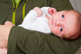 Newborn Baby Boy and Father — Foto Stock