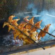 Stock Photo: Chicken on Rotisserie BBQ