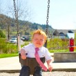 Crying Boy on Swing — Stock Photo