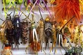 Fly Box Detail Wet Flies Nymphs — Stock Photo