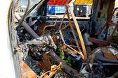 Detalhe de ferro-velho de colisão de auto — Foto Stock
