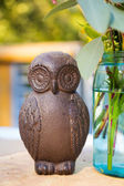 Wooden Owls And Flowers — Stock Photo