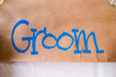 Groom Hand Written Sign — Stock Photo