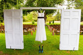 Wedding Dress Hanging Up — Stock Photo