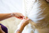 Bride Getting Dress On — Stock Photo