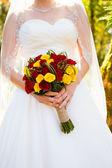 Bride Holding Bouquet Flowers — Stock Photo
