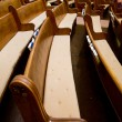 Historic Church Wood Pews — Stock Photo