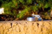 Wedding Rings Outdoor Concrete — Stock Photo