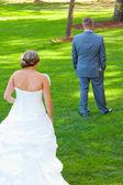 Bride Groom First Look — Stock Photo