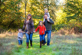 Family of Five Outdoors — Stock Photo