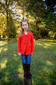 Girl in Red Sweater Portrait — Stockfoto