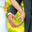 Bride and Groom Heart Shape Hands — Stock Photo #38022385