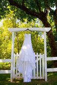 Wedding Dress Hanging Outside — Stock Photo