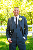 結婚式の日のハンサムな新郎の肖像画 — ストック写真
