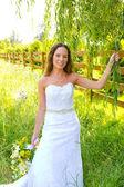 Beautiful Bride in Wedding Dress — Foto de Stock