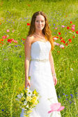 Beautiful Bride in Wedding Dress — Stockfoto