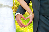 Bride and Groom Heart Shape Hands — Stock Photo