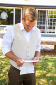 Groom Reading Vows for Wedding — Stock Photo