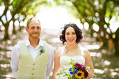 Orchard Portraits of Bride and Groom — Stock Photo