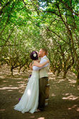 Bride and Groom First Married Kiss — Stock Photo