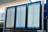 Flygbolaget avgång ankomst läsare styrelser — Stockfoto