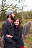 Pareja feliz retrato comprometido — Foto de Stock