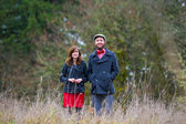 Engaged Couple Outdoors — Stock Photo