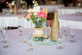 Wedding Reception Table Centerpieces — Stock Photo