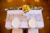 Mr and Mrs Bride and Groom Wedding Table — Stock Photo