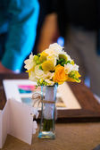 Toss Bouquet at Gift Table — Stock Photo