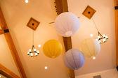 White and Yellow Paper Lanterns at Wedding — Stock Photo