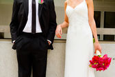 Bride and Groom Together on Wedding Day — Stockfoto