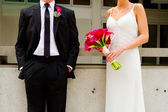 Bride and Groom Together on Wedding Day — Stock Photo