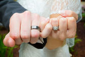 Pinky Swear Wedding Ring Hands — Stock Photo