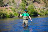 Fly Fisherman Casting on the Deschutes River — Stock Photo